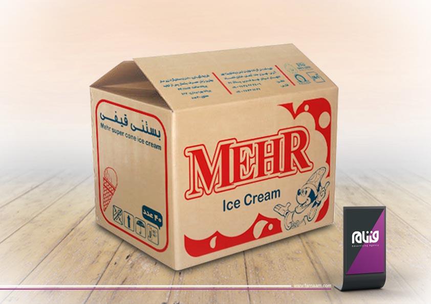 طراحی بسته بندی بستنی مهر