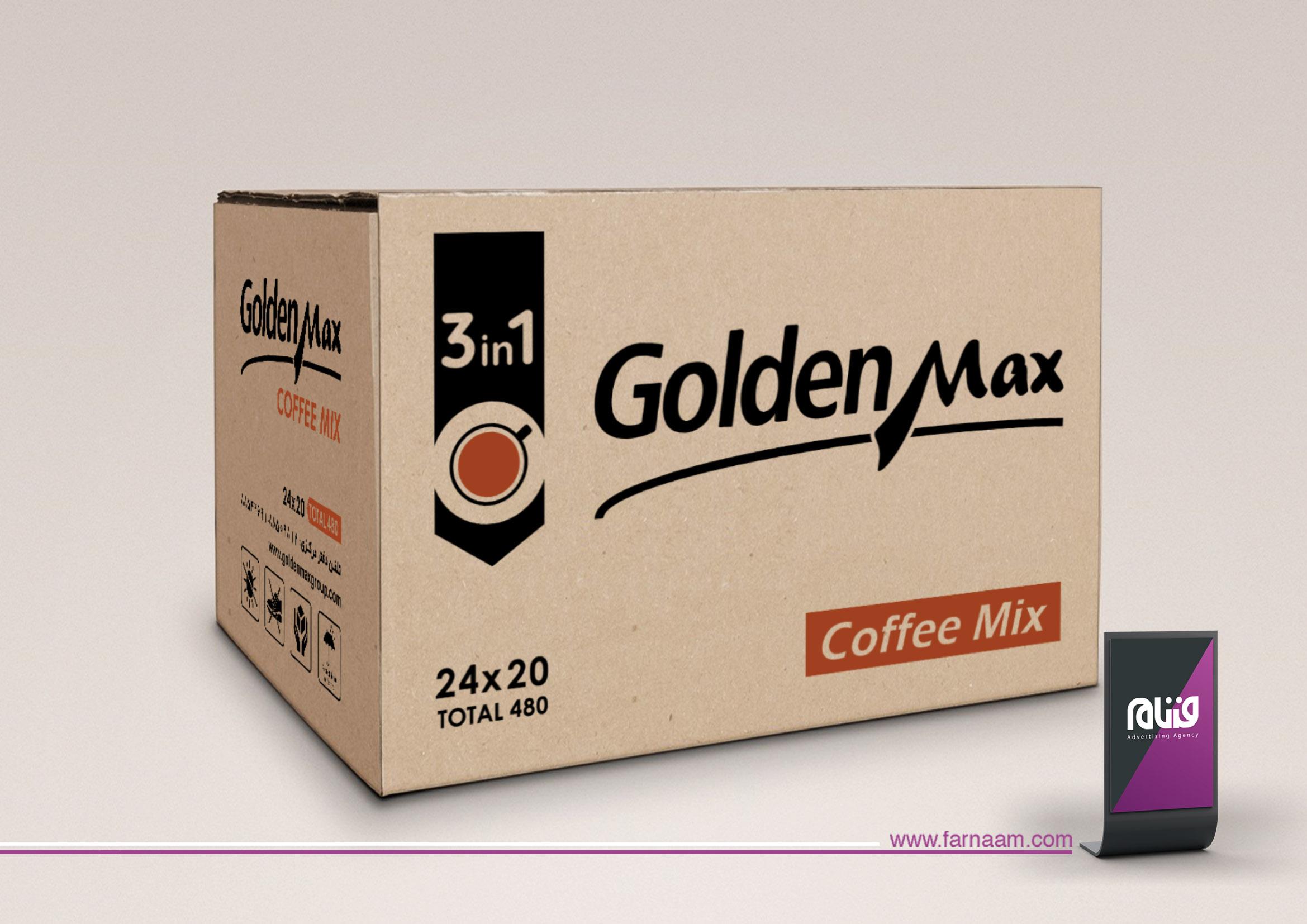 طراحی کارتن قهوه گلدن مکس