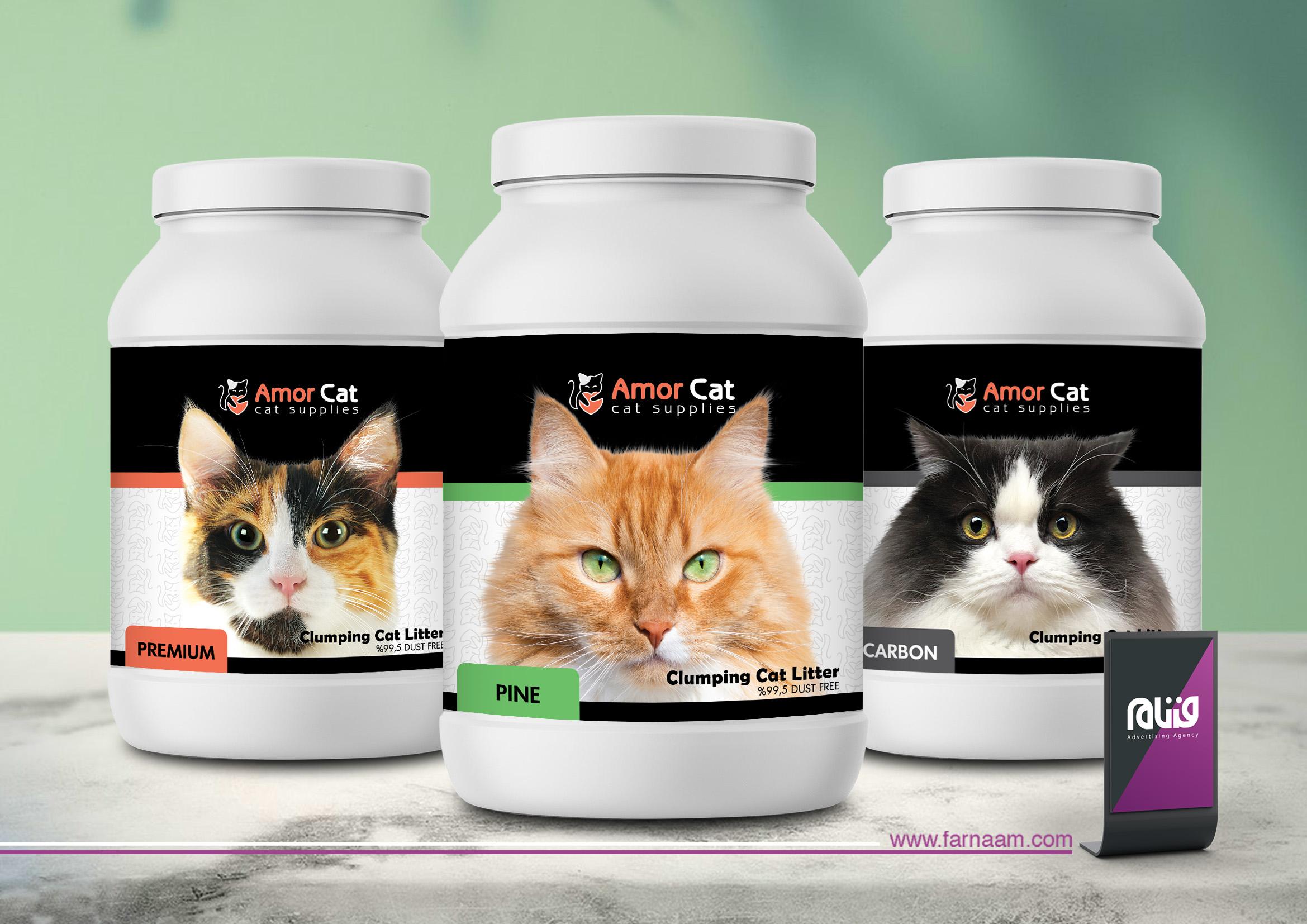طراحی لیبل بسته بندی خاک گربه