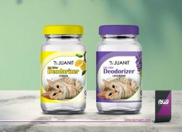 طراحی لیبل بسته بندی بوگیر خاک گربه ژوانیت