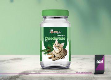 طراحی لیبل بسته بندی بوگیر خاک گربه Amor Cat